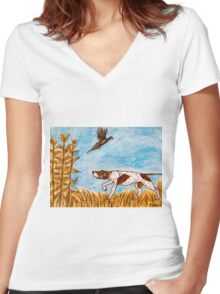 Pointer Dog Pheasant Bird Hunting Painting Women's Fitted V-Neck T-Shirt