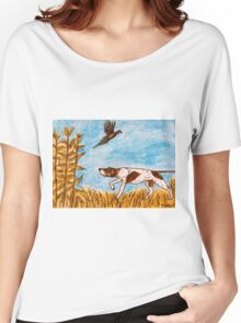 Pointer Dog Pheasant Bird Hunting Painting Women's Relaxed Fit T-Shirt