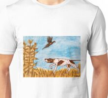 Pointer Dog Pheasant Bird Hunting Painting Unisex T-Shirt