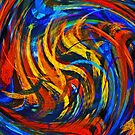 Modern Colorful Swirl Abstract Art by Nhan Ngo