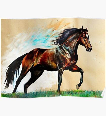 Prancing Bay Horse Poster