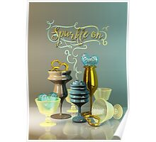 Sparkle On Valentine Hearts Stylish Gold Turquoise Glasses Poster
