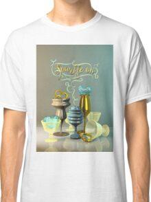 Sparkle On Valentine Hearts Stylish Gold Turquoise Glasses Classic T-Shirt