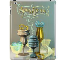 Sparkle On Valentine Hearts Stylish Gold Turquoise Glasses iPad Case/Skin