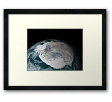 The frozen continent of Antarctica and its surrounding sea ice. Framed Print