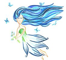 Blue Fairy Watercolor Illustration by rubyandpearl