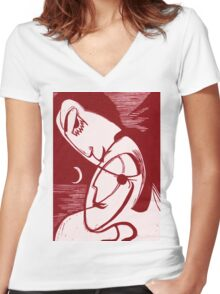 Asexual Kiss By The Sea And Under A Crescent Moon Women's Fitted V-Neck T-Shirt