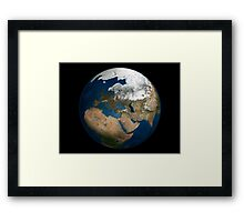A global view over Europe and Scandinavia with Arctic sea ice. Framed Print