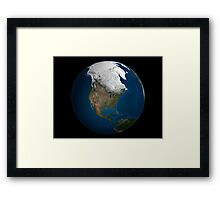 A global view over North America with Arctic sea ice Framed Print