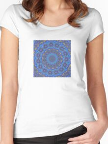 Intricate Purple, Blue  and Vivid Yellow Abstract Kaleidoscope Women's Fitted Scoop T-Shirt