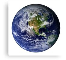 Full Earth showing North America (white background). Canvas Print