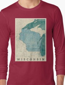 Wisconsin State Map Blue Vintage Long Sleeve T-Shirt