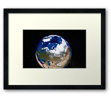 View of Earth showing the Arctic region. Framed Print