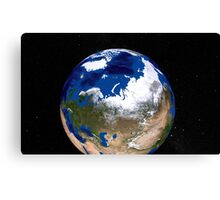 View of Earth showing the Arctic region. Canvas Print