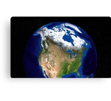 The Blue Marble Next Generation Earth showing the United States, Canada and Greenland. Canvas Print