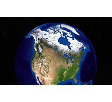 The Blue Marble Next Generation Earth showing the United States, Canada and Greenland. Photographic Print