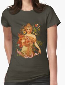 Mucha Floral Womens Fitted T-Shirt