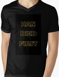 Star Wars - Han Died First Mens V-Neck T-Shirt