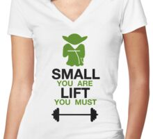 Yoda Lifting Inspiration  Women's Fitted V-Neck T-Shirt