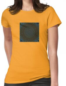 Teal and Brown Feather Abstract Womens Fitted T-Shirt