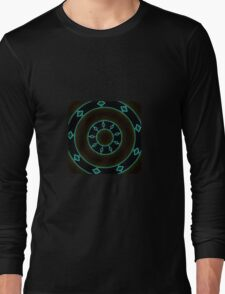 Aztec Style Studio Art In Blue and Brown Long Sleeve T-Shirt