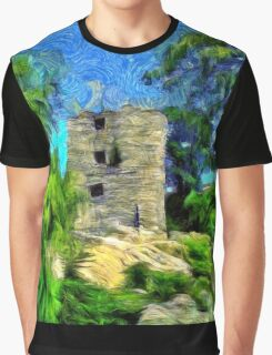 A virtual van Gogh digital painting of a Medieval Citadel in Romania Graphic T-Shirt