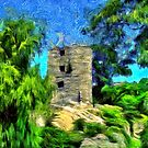 A virtual van Gogh digital painting of a Medieval Citadel in Romania by Dennis Melling