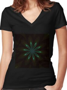 Contemporary Teal Floral on Black Women's Fitted V-Neck T-Shirt