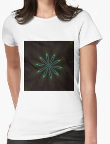 Contemporary Teal Floral on Black Womens Fitted T-Shirt