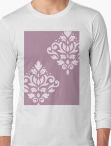 Scroll Damask Art I Pink on Mauve T-Shirt