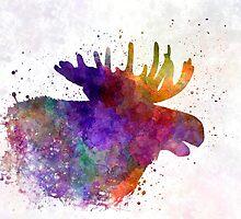 Moose 06 in watercolor by paulrommer