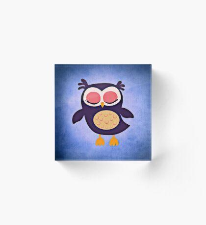 Adorable Purple and Blue Owl Sleeping | Nursery Acrylic Block