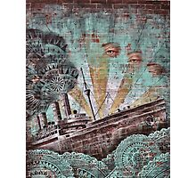 Vintage Blue Maritime Graffiti Photographic Print