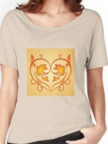 Orange Burning Heart Flower Design Women's Relaxed Fit T-Shirt