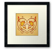 Orange Burning Heart Flower Design Framed Print