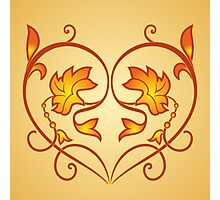 Orange Burning Heart Flower Design Photographic Print