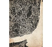 lisbon map ink lines Photographic Print