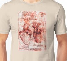 Heart And Its Blood Vessels. Leonardo Da Vinci, Anatomy Drawings Red Unisex T-Shirt