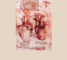 Heart And Its Blood Vessels. Leonardo Da Vinci, Anatomy Drawings Red Unisex T-Shirt