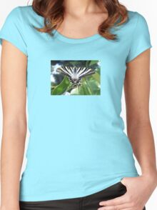 Swallowtail Butterfly Resting on Oleander Leaves Women's Fitted Scoop T-Shirt