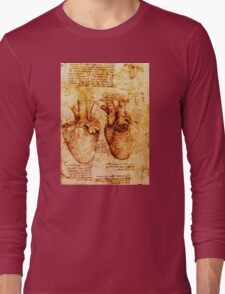 Heart And Its Blood Vessels, Leonardo Da Vinci Anatomy Drawings, Brown Long Sleeve T-Shirt