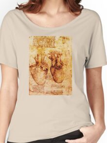 Heart And Its Blood Vessels, Leonardo Da Vinci Anatomy Drawings, Brown Women's Relaxed Fit T-Shirt