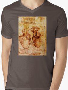 Heart And Its Blood Vessels, Leonardo Da Vinci Anatomy Drawings, Brown Mens V-Neck T-Shirt