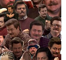 RON SWANSON'S FACES by thatsmeludz