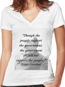Support - Grover Cleveland Women's Fitted V-Neck T-Shirt