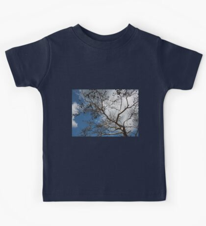 Skeleton of A Pine Tree Against Sky and Clouds Kids Tee