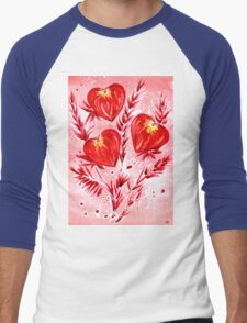 Love Hearts Men's Baseball ¾ T-Shirt