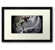 Cloud simulation of a single day centered over the western Pacific. Framed Print