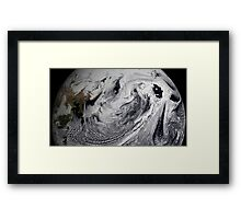Cloud simulation of a single day centered over the middle Pacific.  Framed Print