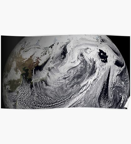 Cloud simulation of a single day centered over the middle Pacific.  Poster